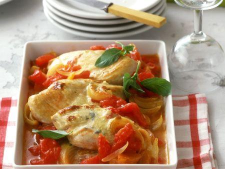 Käsehähnchen mit Tomaten