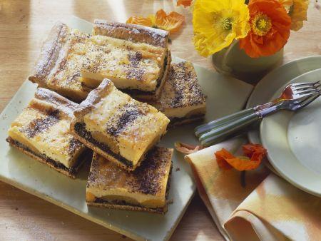 Käsekuchen mit Mohn und Aprikosen