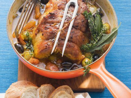 Kalbsbrust mit Oliven-Safran-Sauce