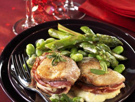 Rezept: Kalbsfilet mit Mozzarella und Pancetta gefüllt