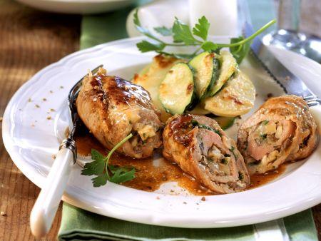 Kalbsröllchen und Kartoffel-Zucchini-Auflauf