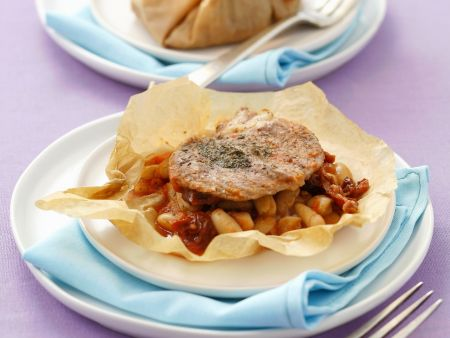 Kalbsschnitzel mit Bohnen en papilotte