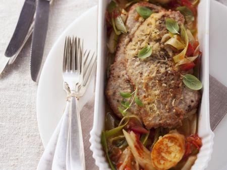 Kalbsschnitzel mit Grießschnitten und Gemüse