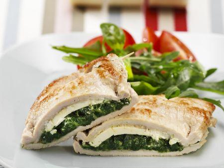 Kalbsschnitzel mit Spinat-Schafskäse-Füllung