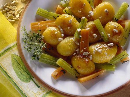 Karamellisierte Kartoffeln mit Gemüse