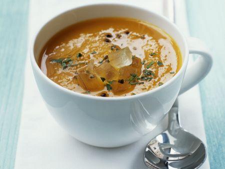 Karottensuppe mit Kardamom und Aloe-Vera-Filet