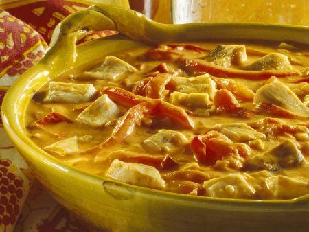 Karpfenragout mit roten Paprika