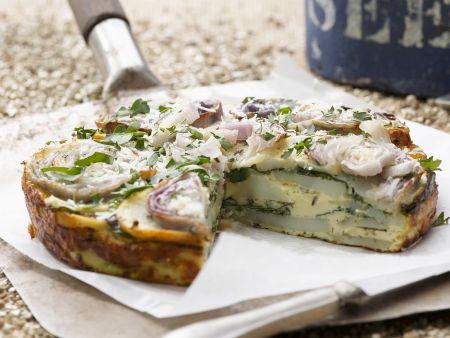 Rezept: Kartoffel-Frittata mit Spinat und Zwiebeln