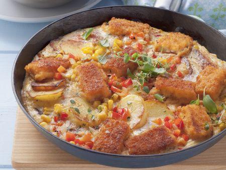 Kartoffel-Mais-Tortilla und Beilagensalat