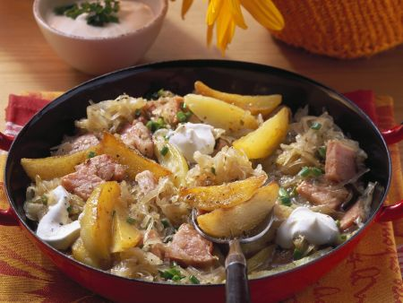 Kartoffel-Sauerkraut-Pfanne mit Kassler