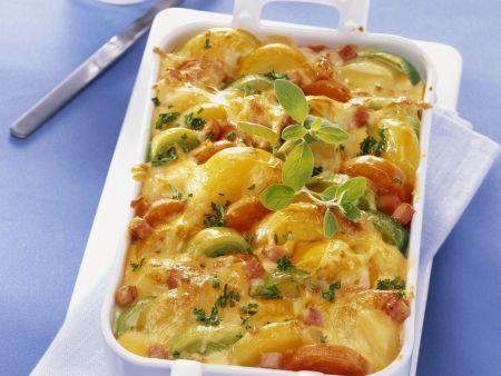 Kartoffel-Tomaten-Gratin mit Rucola