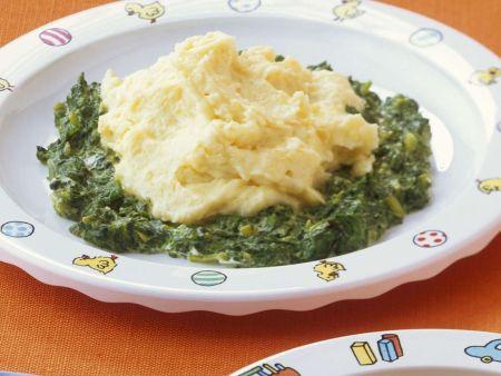 Kartoffelbrei mit Spinat