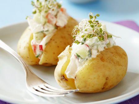 Kartoffeln mit Gemüsequark und frischen Sprossen
