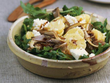 Kartoffelsalat mit Austernpilzen und Rauke