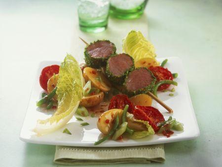 Kasslerspieß mit Kartoffelsalat und Ofentomaten