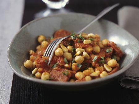 Kichererbsen-Tomaten-Gemüse mit Pinienkernen