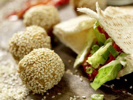 Kichererbsenbällchen im Pita-Brot: Zubereitungsschritt 12