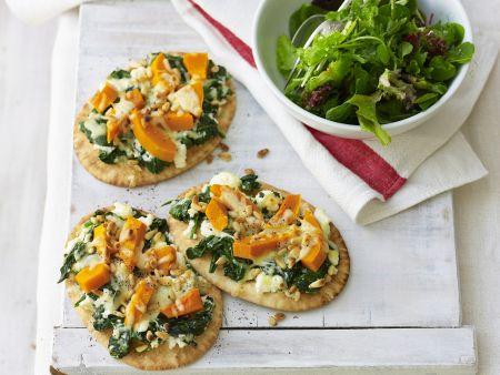 Kleine Kürbis-Pizzen mit Ricotta