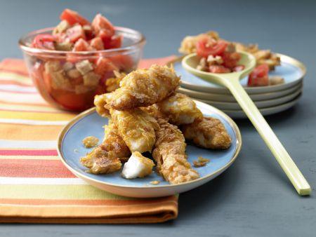 Knusperfisch mit Tomaten-Brot-Salat