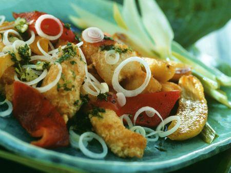 Knusprige Fisch mit Gemüse und Bananen