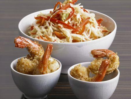 Rezept: Kohlsalat nach Asia-Art mit frittierten Scampi