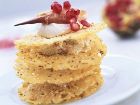 Krabbenfleisch mit Frischkäse und Knabberkeksen