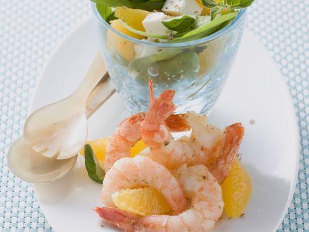 Rezept: Krabbensalat mit Orangen, Spinat und Feta