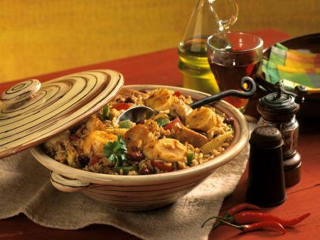 Kreolischer Eintopf mit Hähnchen, Mais, Bohnen und Banane (Gumbo)