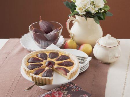Kuchen mit Rotweinbirnen