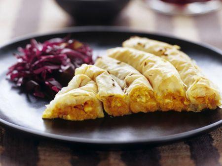 Kürbis-Feta-Kuchen aus Filoteig