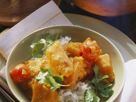 Kürbis-Tomaten-Curry mit Reis