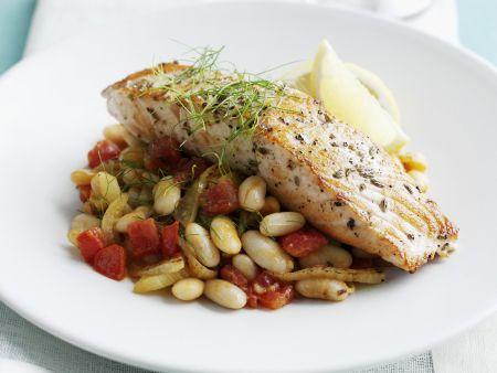 Rezept: Lachs mit Bohnen-Tomaten-Gemüse