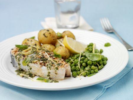 Rezept: Lachs mit grüner Soße, Erbsen und Kartoffeln