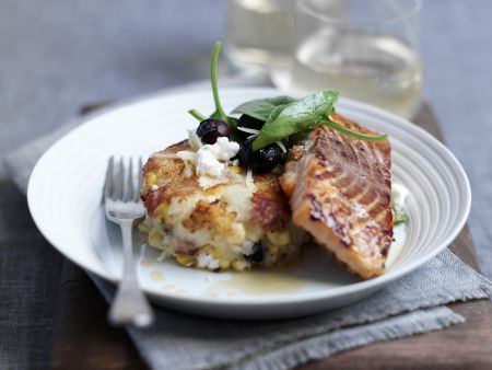 Lachsfilet mit Ahornsirup glasiert dazu Kartoffelbratling