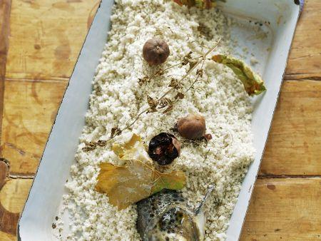 Lachsforelle mit Salz überkrustet