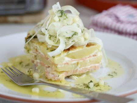 Rezept: Lachsgratin mit Fenchelsalat