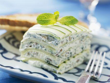 Lasagne aus Zucchini und Frischkäse