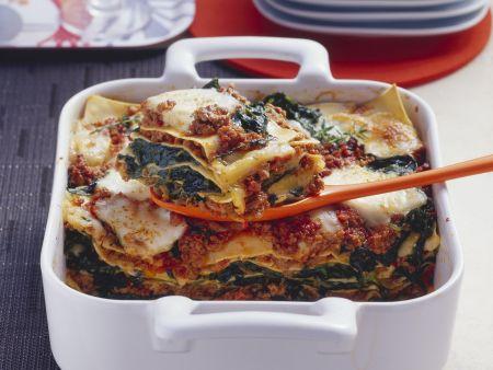 Lasagne mit Hackfleisch und Spinat