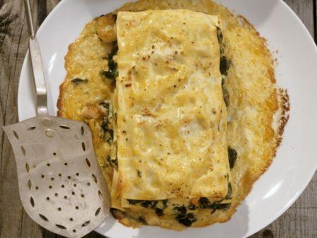 Rezept: Lasagne mit Shrimps, Calamari und Spinat