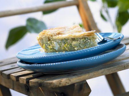 Lauchkuchen mit Feta auf griechische Art