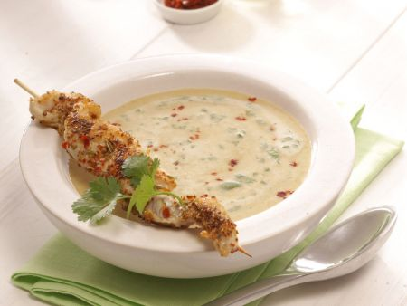 Linsen-Currysuppe mit Red-Snapper-Spieß