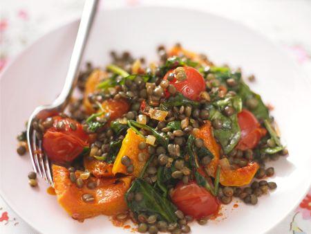 Linsen-Kürbis-Salat mit Gemüse
