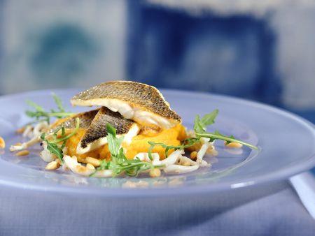 Loup de mer mit Karoffel-Kürbispüree