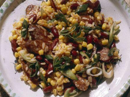 Mais-Bohnensalat mit Reis
