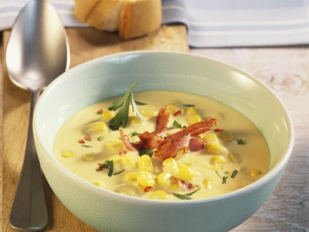 Maissuppe mit knackigem Bacon