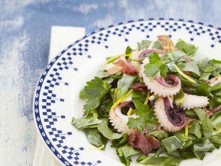 Mangoldsalat mit Calamari und Salami
