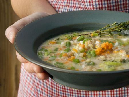 Maronisuppe mit Bohnen und Reis