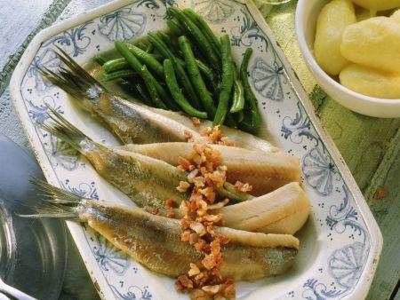 Matjesfilets mit Speck und grünen Bohnen