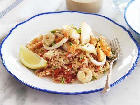 Meeresfrüchte mit Reisnudeln