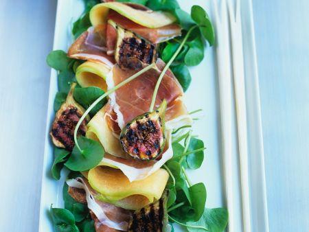 Melone mit Schinken und Feigen